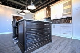 Closeup on the kitchen island on display in our showroom.