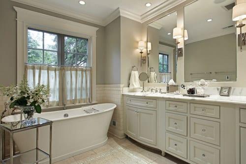 Newly renovated spa-like bathroom with free-standing tub.