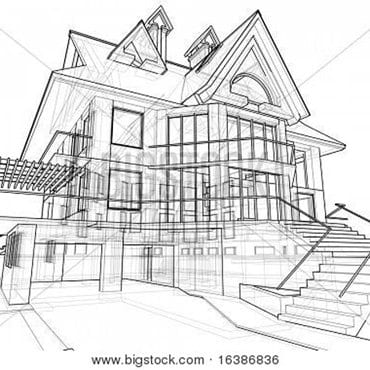 A drawing of a custom home.