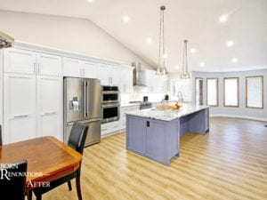 white kitchen purple island calgary